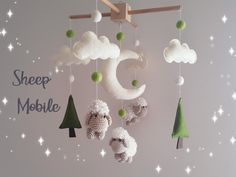 Check out our amigurumi selection for the very best in unique or custom, handmade pieces from our stuffed animals & plushies shops. Sheep Nursery, Nursery Crib, Nursery Decor, Crochet Baby Mobiles, Crochet Mobile, Crochet Sheep, Crochet Teddy, Baby Crib Mobile, Baby Cribs