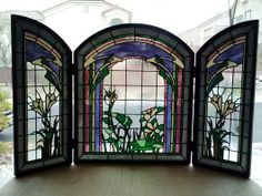 """Garden Showers"" - by The Glass Image Stained Glass Projects, Stained Glass Art, Stained Glass Windows, Mosaic Glass, Stained Glass Fireplace Screen, Fireplace Screens, Delphi Glass, Garden Shower, Artist Gallery"