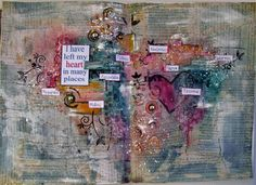 Art journal page about travels  #artjournal #artjournalspread #mixedmedia