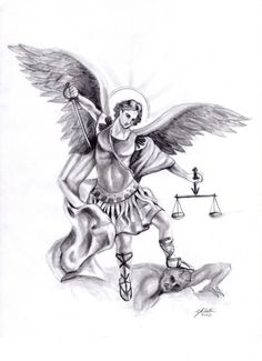 Michael by FrankxX on DeviantArt Michael Archangel Tattoo Outline Holy Tattoos, Dream Tattoos, Future Tattoos, St. Michael Tattoo, Archangel Michael Tattoo, Demon Tattoo, Tattoo Now, Archangel Raphael, Archangel Gabriel