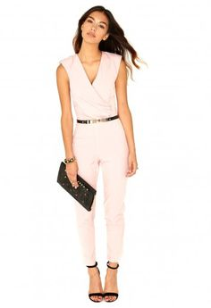 Jerma Crossover Tailored Jumpsuit In Dusky Pink ; i want it in a khaki or olive green.
