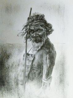 Frank Desmet, 2019 'aboriginal man-3' - size A5 - pencil 3B Aboriginal Tattoo, Aboriginal Symbols, Aboriginal Man, Pencil Drawings, My Drawings, Art Birthday, A5, Tattoo Ideas, Party Ideas