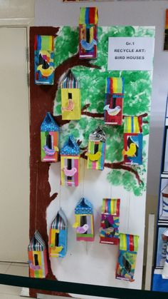 Bird houses from Tissue boxes. Gr. 1