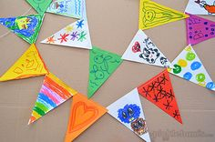 Super easy kid-made bunting - an activity that works for a variety of ages all at once!