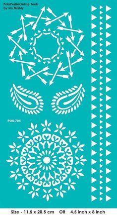Modèles de pochoirs au pochoir « Mandala, Paisley, flèche », auto-adhésif, flexible, pour la pâte polymère, tissu, bois, verre, fabrication de cartes