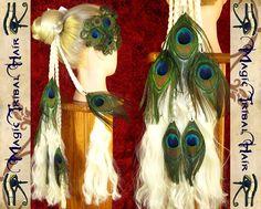 FARBE=MAßANFERTIGUNG Fantasy HAARTEIL Pfauenfeder von Magic Tribal Hair auf DaWanda.com