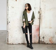 Ripped Jeans And Parka Jacket