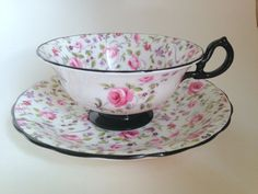 Antique Chintz Royal Chelsea Tea Cup and Saucer, Bone China Tea Cups, Antique Teacups, Tea Set, Pink Rose Cups and Saucers, VogueTeam