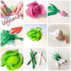 Paper Vegetables and fruits of April. Decor Crafts, Diy And Crafts, Diy For Kids, Crafts For Kids, Diy Paper, Paper Crafts, Vegetable Crafts, Paper Fruit, Making Paper Mache