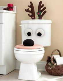reindeer toilet decoration!!! bahahah my roommates would love this bahahah