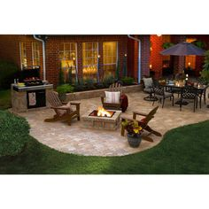 Nice backyard patio on pavers with bbq, pit and table for dining. If the left side was a slightly raised deck and the entire patio area enclosed, this would be the perfect back yard for me! Concrete Patios, Concrete Fire Pits, Cement Patio, Paver Fire Pit, Paver Sand, Stone Patios, Patio Stone, Flagstone, Small Backyard Patio