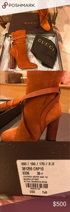 Gucci (new) Suede- size 36 1/2 Bitter Orange Boots The smell of new suede permeates through the box. Gorgeous pair of new Gucci boots; shoe bag included. No trades please. Gucci Shoes Heeled Boots