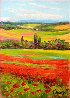 tuscan artwork paintings | Poppies Field In Tuscany Painting