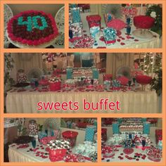 Red and Blue Sweets Buffet, 40th birthday