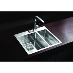 Dimensions: 595 x 510 x Flush or flat-mount kitchen sink, one and a half bowl, premium stainless steel material, in satin finish. Glass Sink, Glass Kitchen, Kitchen Items, Kitchen Sink, Inset Sink, Ral Colours, Stainless Steel Material, Black Glass, Colored Glass