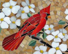 Stained glass mosaic cardinals and dogwood blossoms; handmade original!