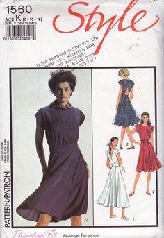 80s Wrap Dress Pattern Style 1560 Vintage Sewing Pattern Size 8 10 12