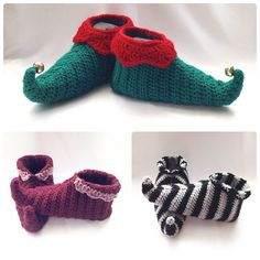 Create fun curly toed slipper shoes for all the family. Sizes given from toddler size all the way up to men's largest standard size! Choose festive colours and add bells or pom poms to make elf shoes.