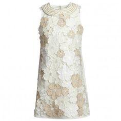 Mimi-Sol Ivory Applique Flower Dress with Collar at Childrensalon.com