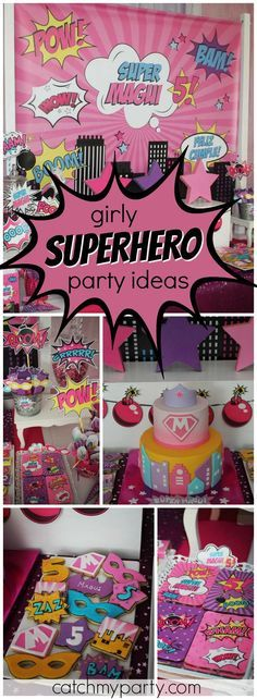 You have to see this amazing girl superhero birthday party! See more party ideas at Catchmyparty.com!