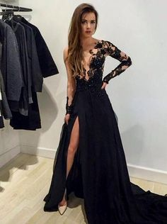 Fashion Long Sleeves Black Prom Dresses with side slit [PD-7780] - $159.99