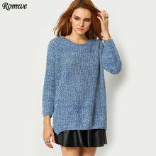 Romwe moda feminina outono / inverno nova marca manga comprida em torno do pescoço Casual mergulhado Hem solto Knit Sweater capuz(China (Mainland))
