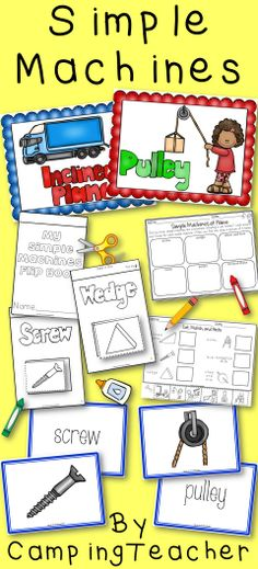 Simple Machines - Anchor Charts, Matching Cards, Flip Book, Activity Sheets- idea for matching words to pictures