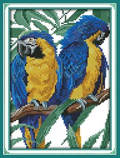 YEESAM ART� New Cross Stitch Kits Advanced Patterns for Beginners Kids Adults � Blue Headed Parrot 11 CT Stamped 24�35 cm � DIY Needlework Wedding Christmas Gifts � Friendly Faces