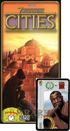 7 Wonders Board Game Cities Expansion with Louis Armstrong Leaders Promo. The second expansion for 7 Wonders. Cities is the most popular expansion for 7 wonders. Also a very unique promo card.   If you like Settlers of Catan you will most likely enjoy 7 wonders. I love the every player plays at the same time. For this reason the game moves very quickly.