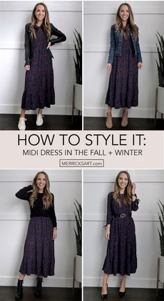 Winter Dress Outfits, Casual Fall Outfits, Simple Outfits, Fall Winter Outfits, Winter Midi Dress, Dresses For Winter, Black Dress Outfits, Summer Dresses, Midi Dress Outfit