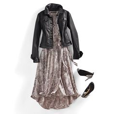 A dress that goes day to night with a feminine edge — a true snake charmer. Day To Night Outfits, Dinner Outfits, Dress Outfits, Dresses, She Walks In Beauty, Fashion Wear, Dress Collection, Fit And Flare, Dress To Impress