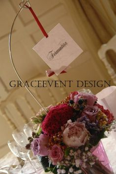 Centrotavola Pink and red Theme by Rudy Casati  per graceevent www.graceevent.net