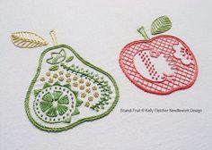 Scandi Fruit A crisp apple and pear inspired by Scandinavian design The design is 6 x 4.25 inches (15 x 11cm).  This is a six-page pattern in PDF format, which will be made available as a digital download as soon as payment has cleared.  Need help with a stitch? Try my Stitch Directory on www.kellyfletcher.blogspot.com or my Stitches board on www.pinterest.com/kellylfletcher/stitches.  The pattern includes: Needle and thread requirements: A list of the DMC six-stranded cotton colours and the…