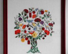 """Stickbild """"Sommerbaum"""", phantasievoller Baum in Kreuzstich und Petit Point"""