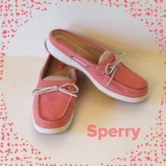 SPERRY TOP-SIDER Beautiful Coral color!!!  Suede Leather uppers. Mule style slip-on in excellent condition. Size 7 and true to size. Worn maybe 5 times. Great spring color.  Price is firm plz. Sperry Top-Sider Shoes Flats & Loafers