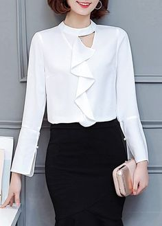 28.15$ Buy now - http://diibd.justgood.pw/go.php?t=173053 - Round Neck Long Sleeve Keyhole Flouncing White Shirt