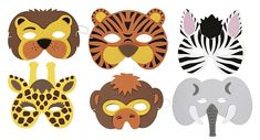 Assorted Soft Jungle Animal Mask - Each
