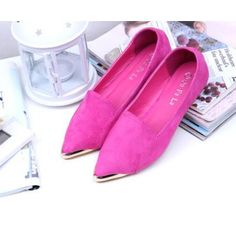 Hot pink pointed flats