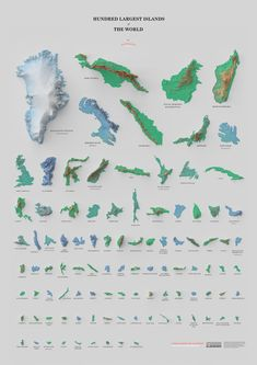 Wondering what the largest island in the world is? Learn that and more with this 'Hundred Largest Islands of the World' poster by Mapmaker David Garcia. Digital Elevation Model, Make A Map, Rpg Map, Historical Maps, Big Island, Plans, Poster, Graphic Design, Map Design