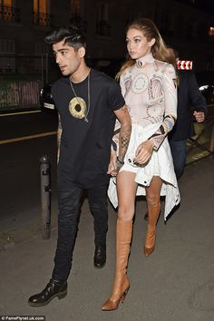 Gigi Hadid and Zayn Malik offered up plenty of competition for The Kardashians on Sunday night, as they attended the Paris Fashion Week presentation for Givenchy Gigi Hadid And Zayn, Gigi Hadid 2014, Gigi Hadid Outfits, One Direction, Fashion Models, Fashion Show, Women's Fashion, Dress Out, Zayn Malik