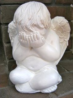 """Angel Statue Peek A Boo White Concrete by WestWindHomeGarden * Reminds me more of Doctor Who Weeping Angels """"freaky"""""""