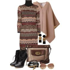 Zig-Zagging Sweater Dress by leegal57 on Polyvore featuring мода, Missoni, Rupert Sanderson, FOSSIL, Gag & Lou, Égotique and Witchery