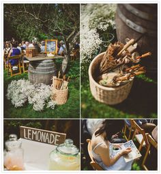 wine barrels soft drinks and parasols and babys breath flowers