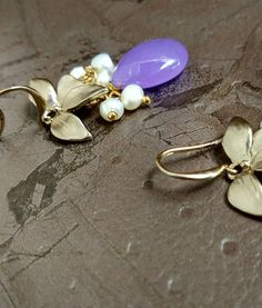 Purpleberry- Translucent Purple Stone with Ivory Gold which is Soft Golden Shade of Gold, Coloured Leaves. #hanging #newarrivals #springqueen #earrings #festivefeel
