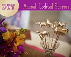 DIY: How to craft gold animal drink stirrers or cake toppers - Pocketful Of Dreams