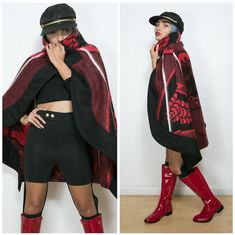 Day 4 - Today Tracy-Lee is wearing a red blanket cape by Thabo Makhetha from Journey on Long Street, cut-out leggings and a top from Tomboy Appeal, Madison the Heart of New York boots and a hat from a thrift shop. African Print Fashion, African Fashion Dresses, African Wear, African Dress, Beautiful Ankara Styles, Cape Designs, Cut Out Leggings, Traditional Outfits, Clothing Items