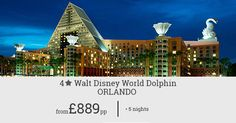 Book this package to save big on your Orlando holiday. Great facilities and recreational activities await you at the popular Walt Disney World Dolphin. Act now for great discounts.