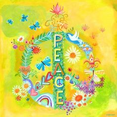 peac sign, canvas art, peace signs, canvas wall art, yellow background, flower children, little flowers