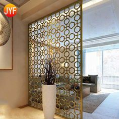Home Interior Hotel Decorative Room Divider Modern Partition 304 Stainless Steel Decorative Laser Cut Screen Divider images - show details of quality Stainless steel partition screen from China Suppliers of Living Room Partition Design, Room Partition Designs, Living Room Divider, Living Room Decor, Metal Room Divider, Diy Room Divider, Muebles Home, Wooden Partitions, Decorative Room Dividers