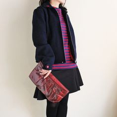 VINTAGE REAL SNAKESKIN CLUTCH (BURGUNDY) /スネークスキン・クラッチバッグ